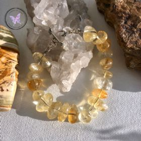 Citrine Nugget Bracelet with Silver Heart Toggle Clasp